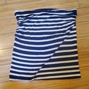 Cabi #789 tube top skirt blue white stripe MED